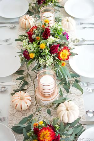 Set your table this Thanksgiving with these easy DIY ideas, from menus, table runners, centerpieces, pie stencils and more.: DIY Copper Striped Candle Holders