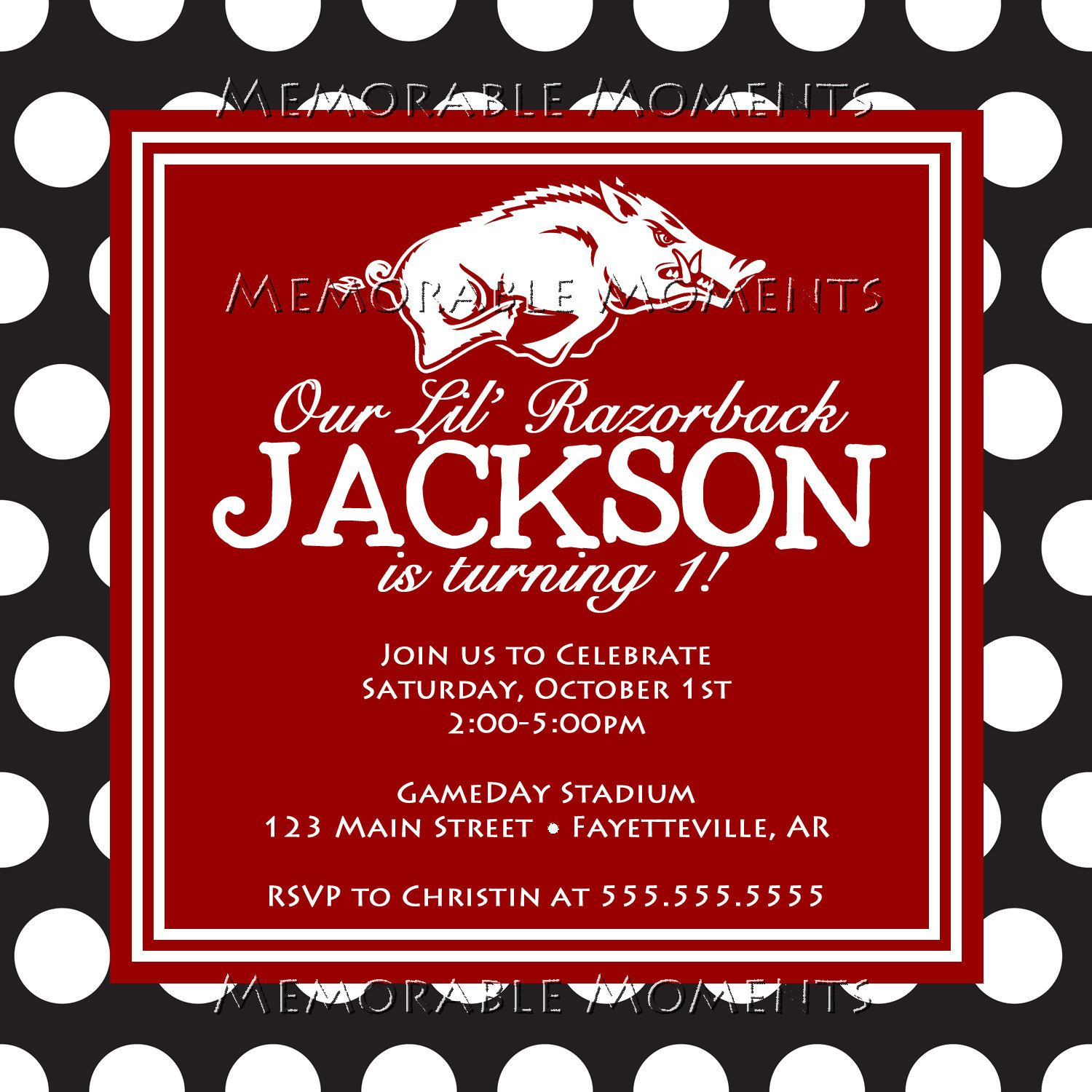 PRINTABLE INVITATIONS Arkansas Razorback by MemorableMomentsSt ...