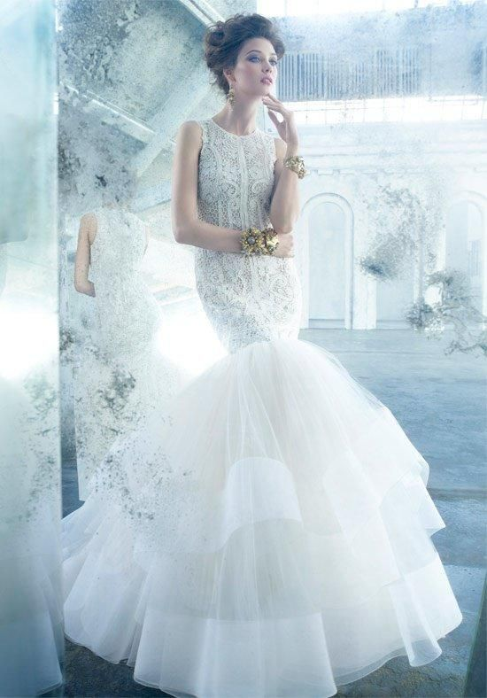 Wedding Gown By Lazaro Ivory Beaded And Embroidered Tulle Trumpet Bridal Jewel Neckline Elongated Sheer Bodice Champagne Layered