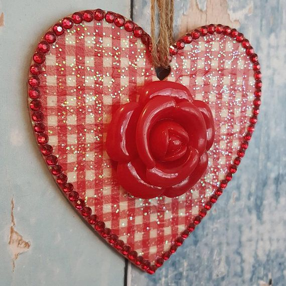 **SHABBY CHIC**  Clay Heart with Tibetan Charm Handcrafted hanging decorations