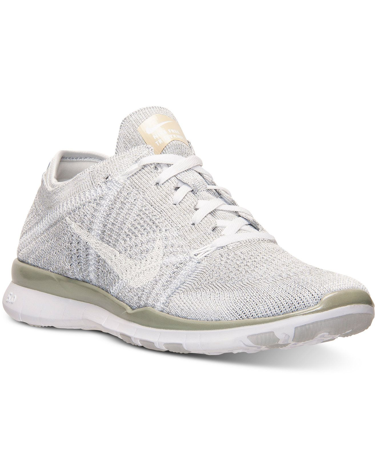 nike women's free 5.0 tr flyknit metallic training sneakers