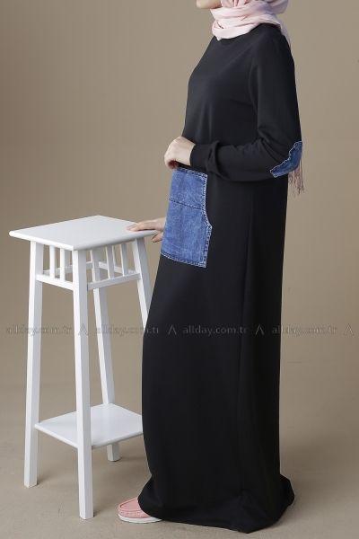 Siyah Penye Elbise P 2181 Elbise Kot Elbiseler Siyah