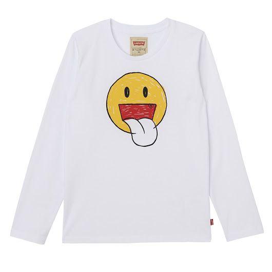 Camiseta de niño de la marca Levi's emoticono carita sonriente http://www.smi...