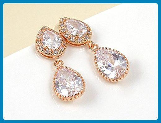 Rose Gold Cubic Zirconia Drop Earrings, Special Occasion - Wedding Earrings for Bridesmaids - Wedding earings (*Amazon Partner-Link)