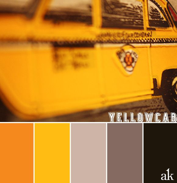 a yellow-taxi-inspired color palette // orange, yellow, gray