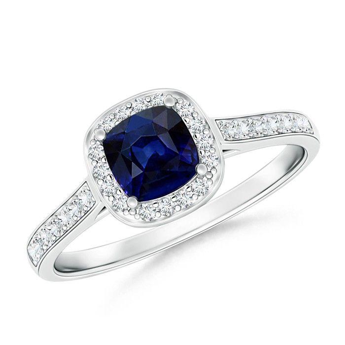 Angara Cushion Sapphire Ring with Round Diamond teoecokqp