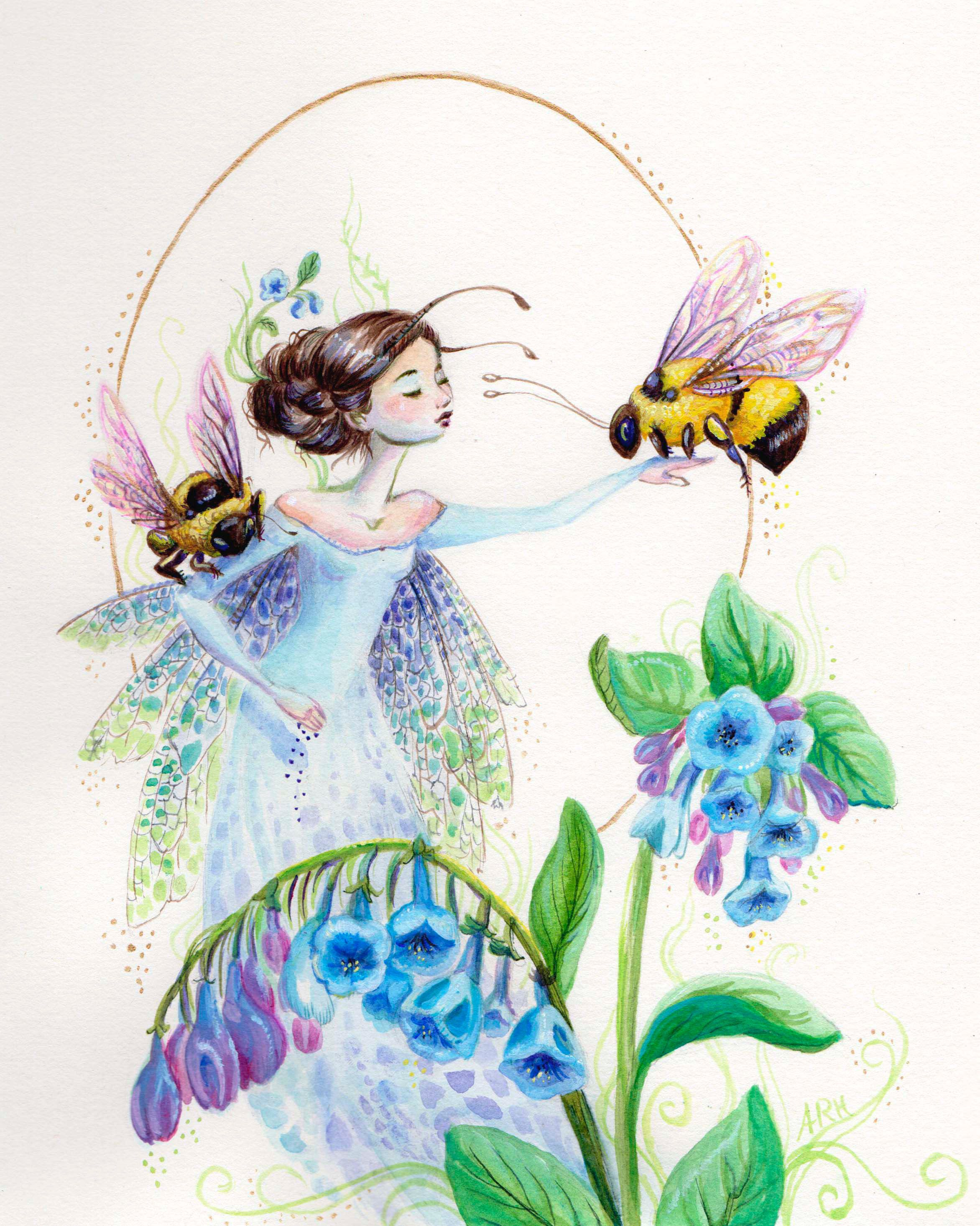 Autumn Rozario Hall Bluebells Fairy With Bees And Bluebells
