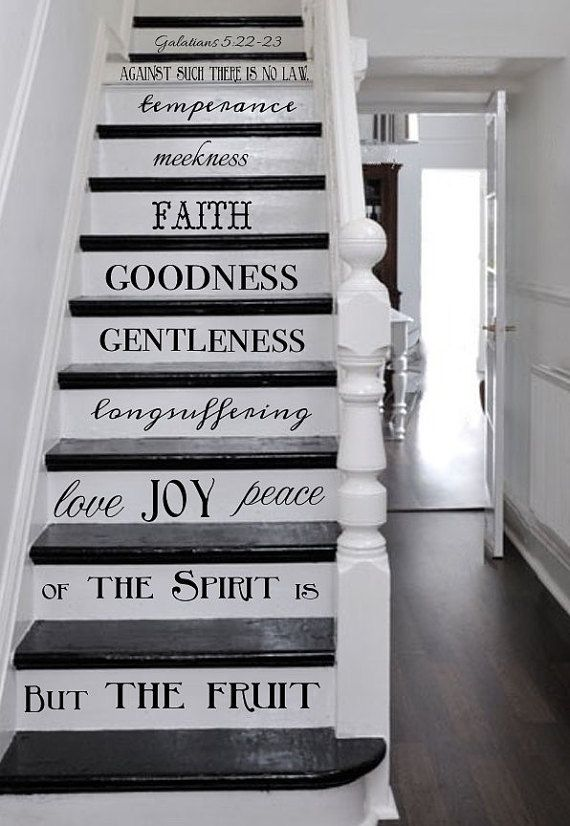 Vinyl Decal Fruit Of The Spirit Stair Decals Galatians 5 22 23 Etsy In 2020 Stair Decals Spiritual Decor Stair Riser Decals