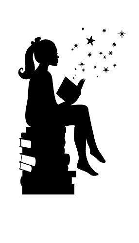Girl Reading Books Magic Facing Right, Small, Black