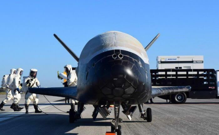 The U.S. Air Force's X-37B Orbital Test Vehicle 4 is seen after at NASA 's Kennedy Space Center Shuttle Landing Facility in Florida May 7, 2017.