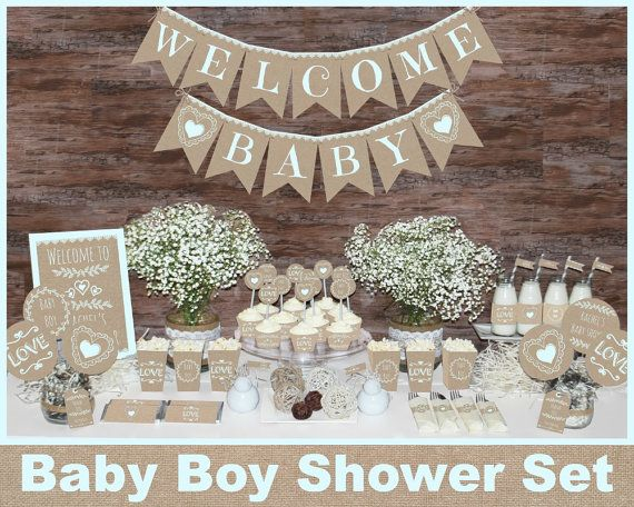 Rustic Baby Shower Decorations Printable Boy By Magicpartydesigns Cartel De Bienvenida Para Bebe Boy Baby Shower Ideas Decoraciones De Baby Shower Para Ninos