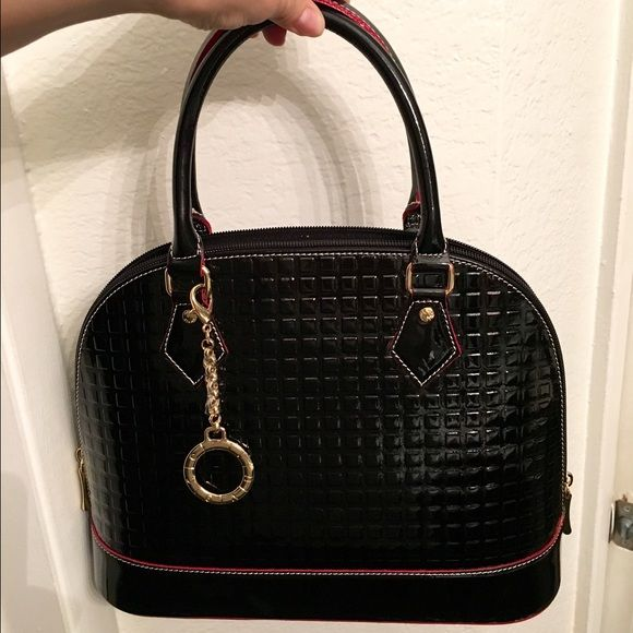 100 Italian Leather Invece Satchel Hanbag Genuine Dome Hand Bag