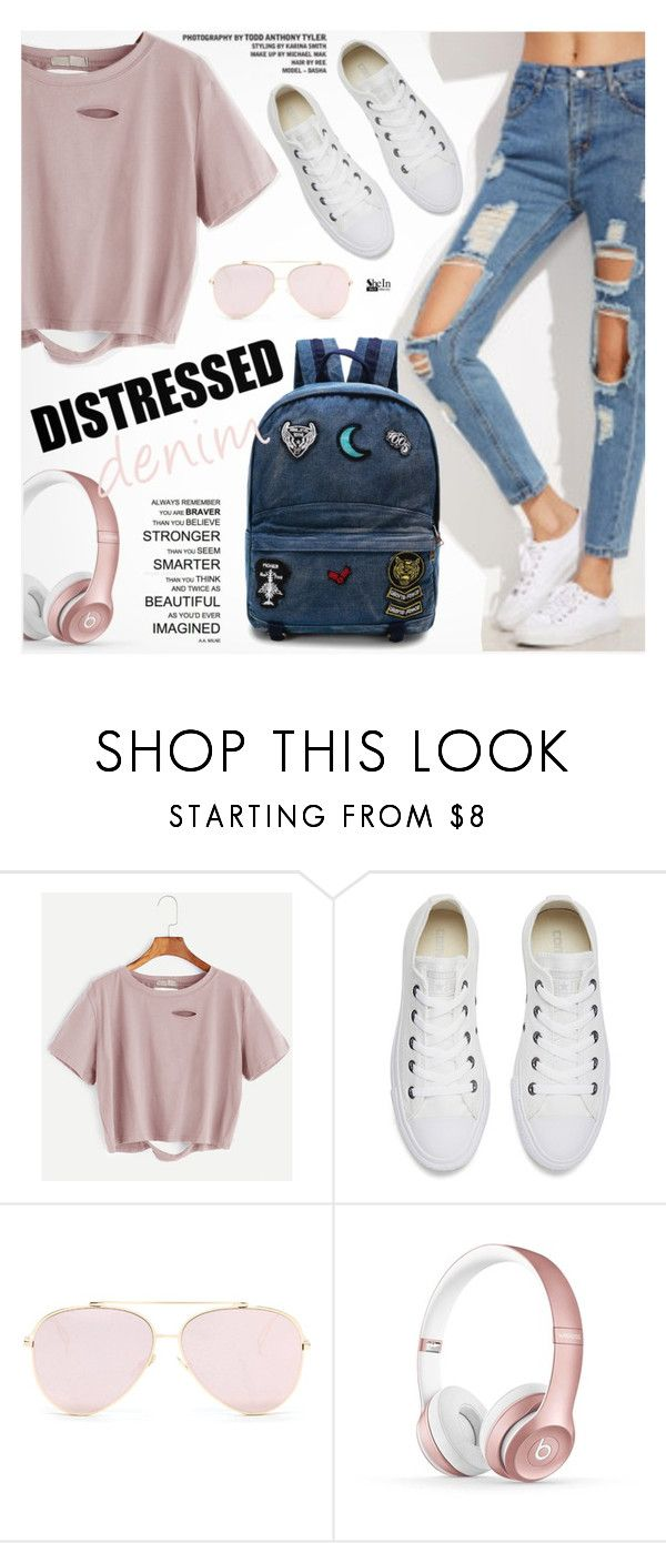 """""""Tear it Up: Distressed Denim"""" by pokadoll ❤ liked on Polyvore featuring Converse and Beats by Dr. Dre"""