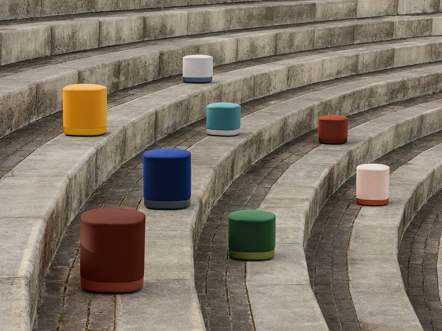 Puck pouf has an aluminium base polished or lacquered in any of our colours and with or without castors The seat can be upholstered in one or two fabrics and that is the...