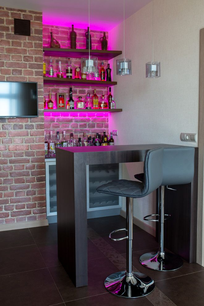 home bar setup hot pink lights teak glass rubbed bronze watercube ...