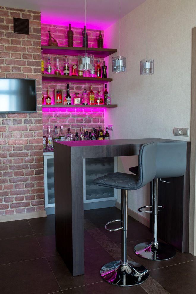 home bar setup hot pink lights teak glass rubbed bronze watercube ...