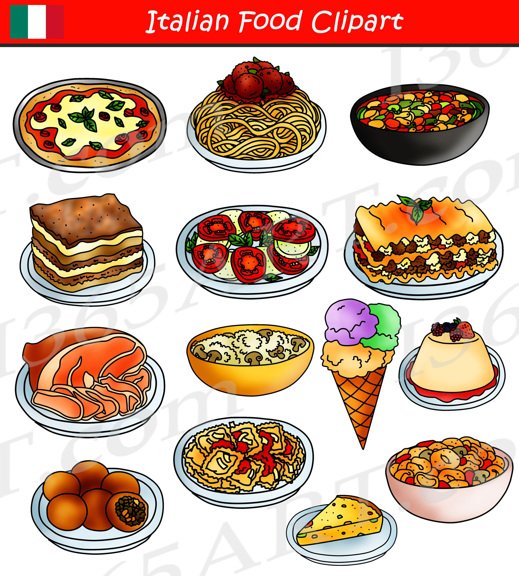 Food dinner. Italian clipart international graphics