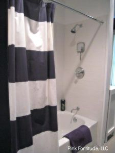 Navy And White Striped Shower Curtain