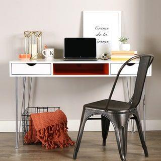 48 Inch Color Accent Desk Orange White Desk With