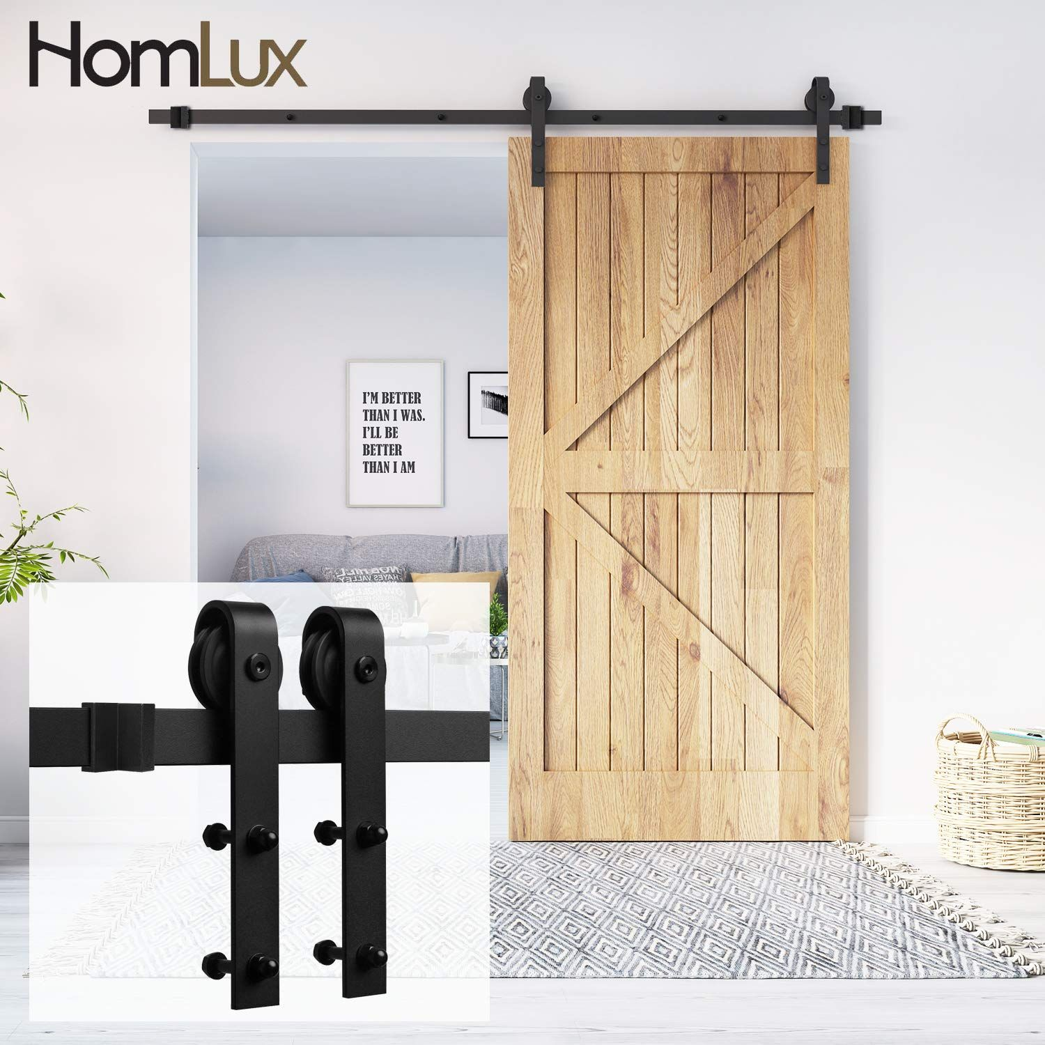 Homlux 6ft Heavy Duty Sturdy Sliding Barn Door Hardware Kit One Door Smoothly And Quietly Simple A Barn Door Kit Sliding Barn Door Track Barn Doors Sliding