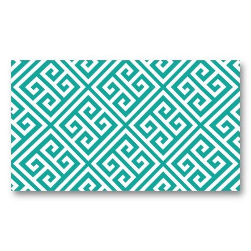 Teal Greek Key Blank Business Card Template Blank business cards - blank business card template