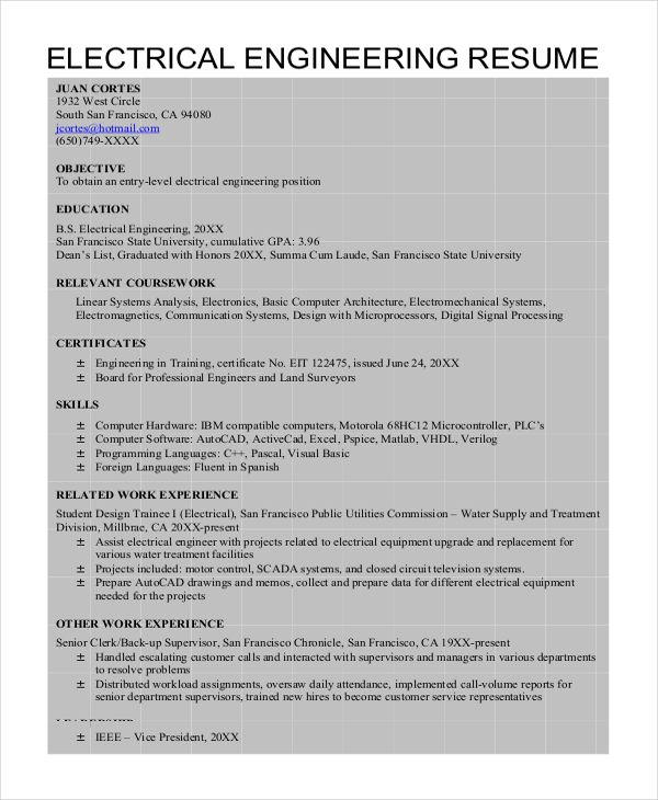 Electrical Engineer Resume Check More At Https Nationalgriefawarenessday Com 5190 Electrical Engineer Resume