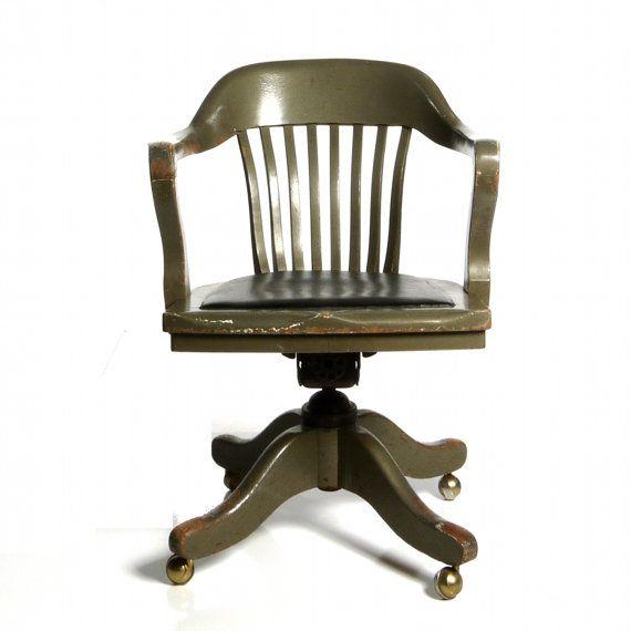 Antique Deco Wooden Chair Swivel Office Desk By Dailymemorandum