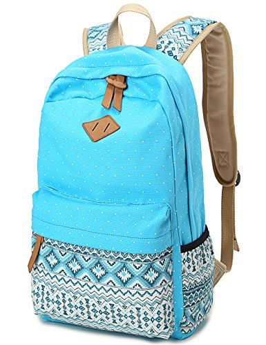 74037acf9680 Leaper Cute Polka Dot and Aztec Casual Canvas Backpack Sc... https ...