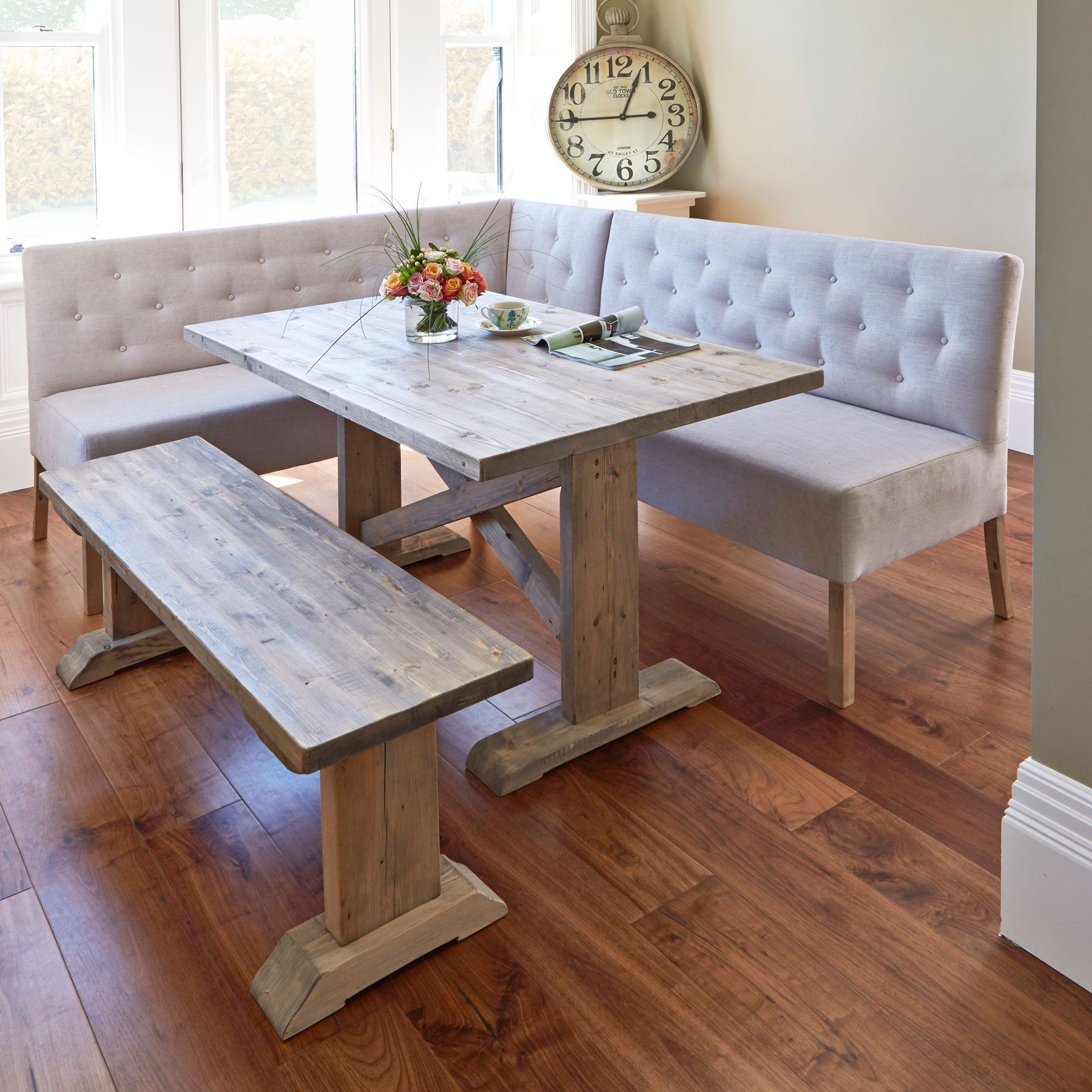 Alina Reclaimed Wood Dining Table with Right-Hand Corner & Small Bench