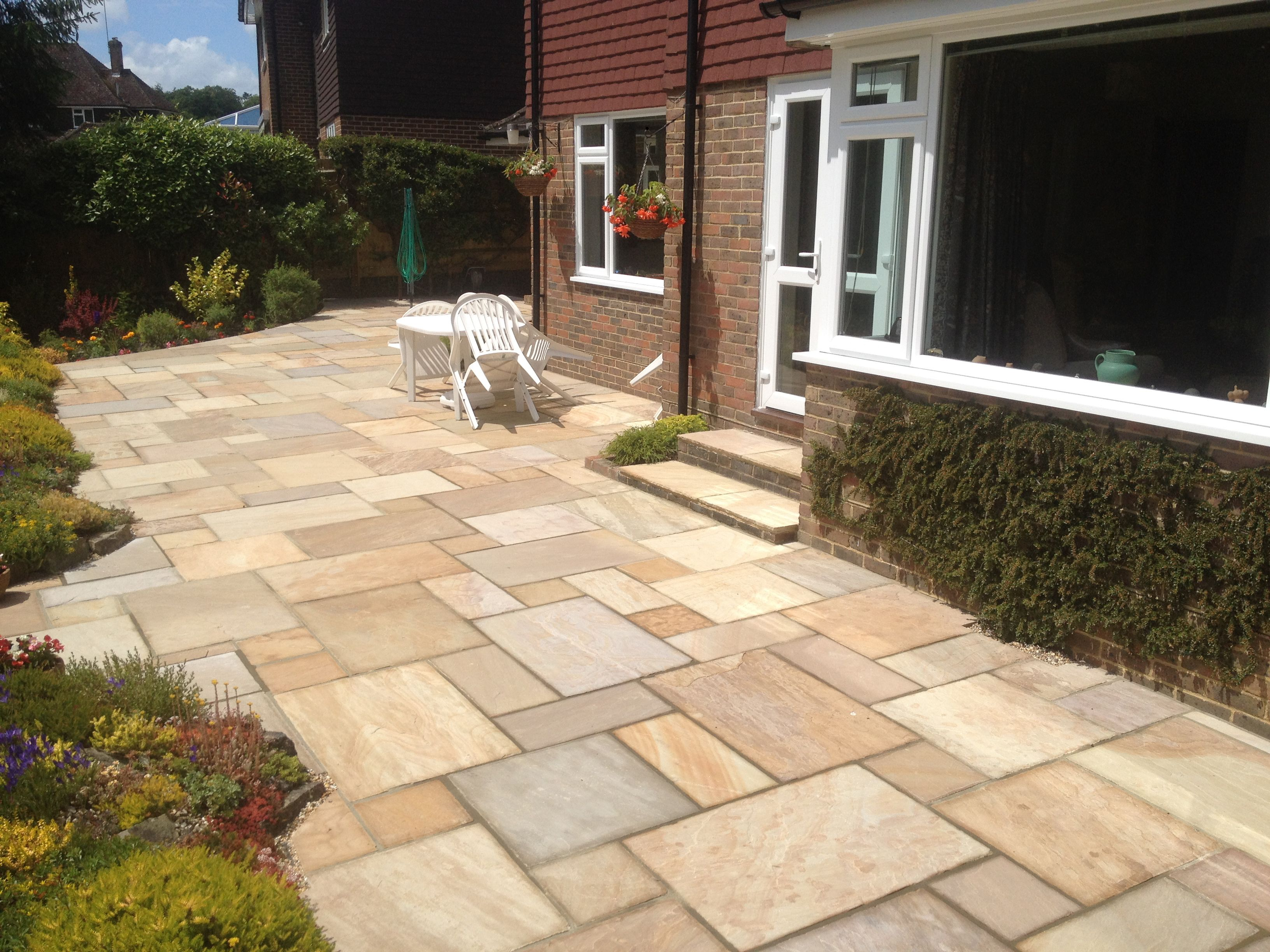pavestone buff sandstone patio paving