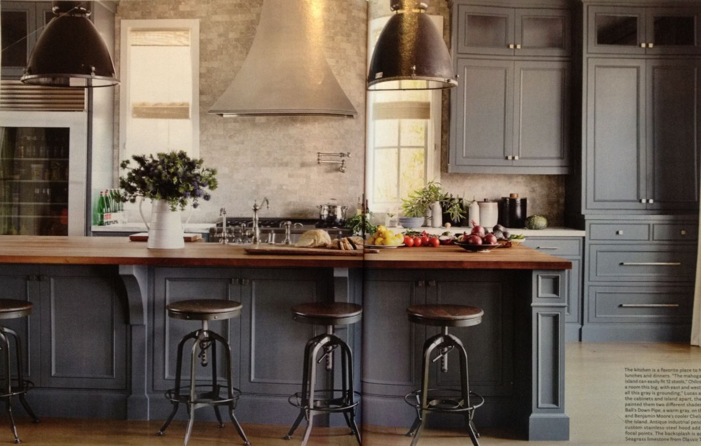 fascinating blue kitchen cabinets | Butcher block on top of charcoal gray. Coffee bar would ...