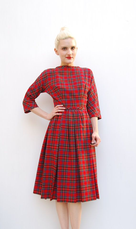 60s Lanz Red Plaid Dress Winter Fashion By