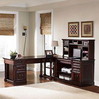 Traditional Veneer Fully Reversible L Desk Set // #Traditional #classic #officedesks