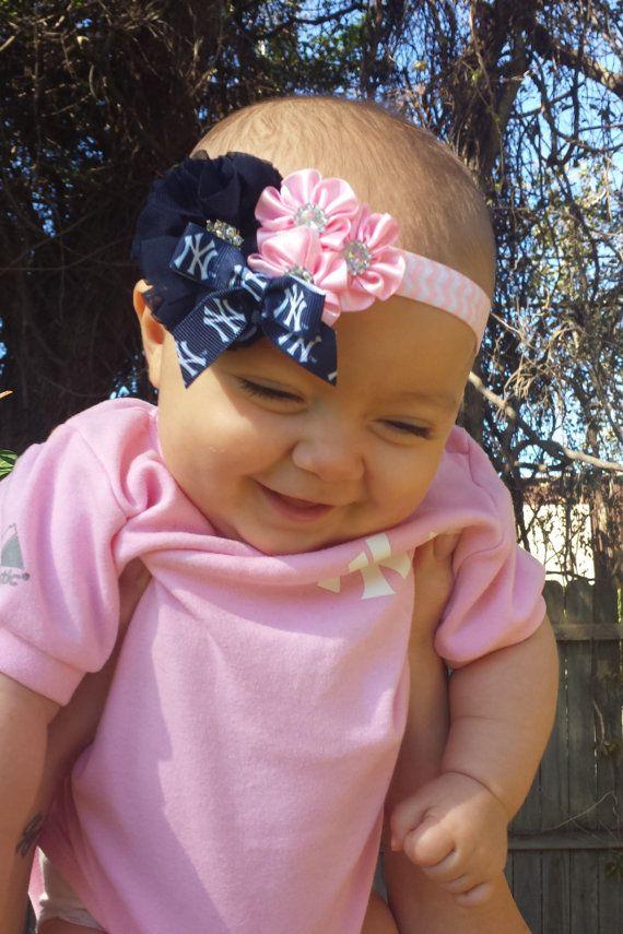 NY Yankees Baby Headband, Newborn Headband, Navy Blue and Pink Headband, Chevron Headband on Etsy, $11.00