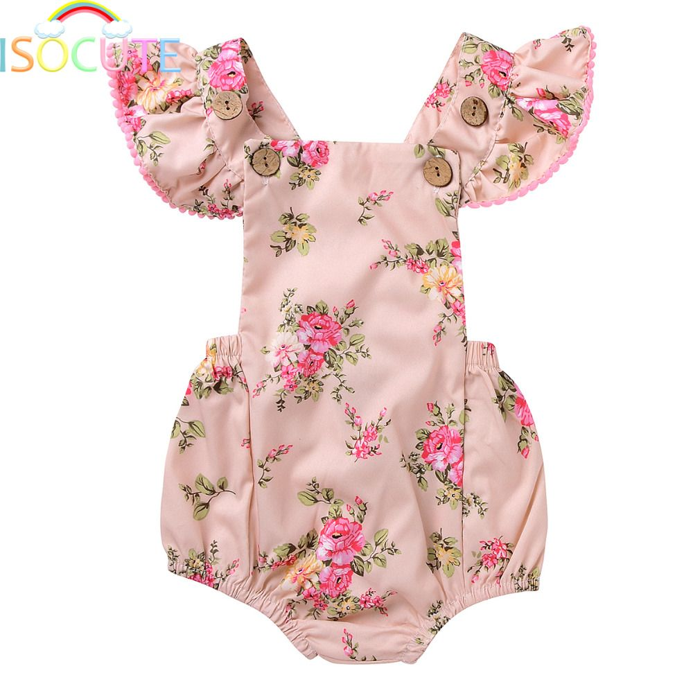 Isocute summer floral printed baby romper backless ruffles sleeve