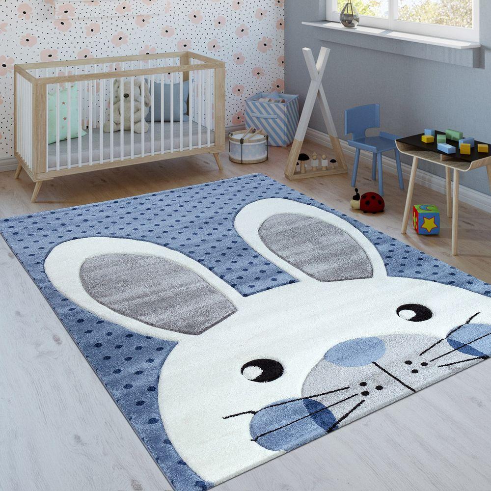 Kinderteppich Niedlicher Hase Indigo Blau Kinderteppiche