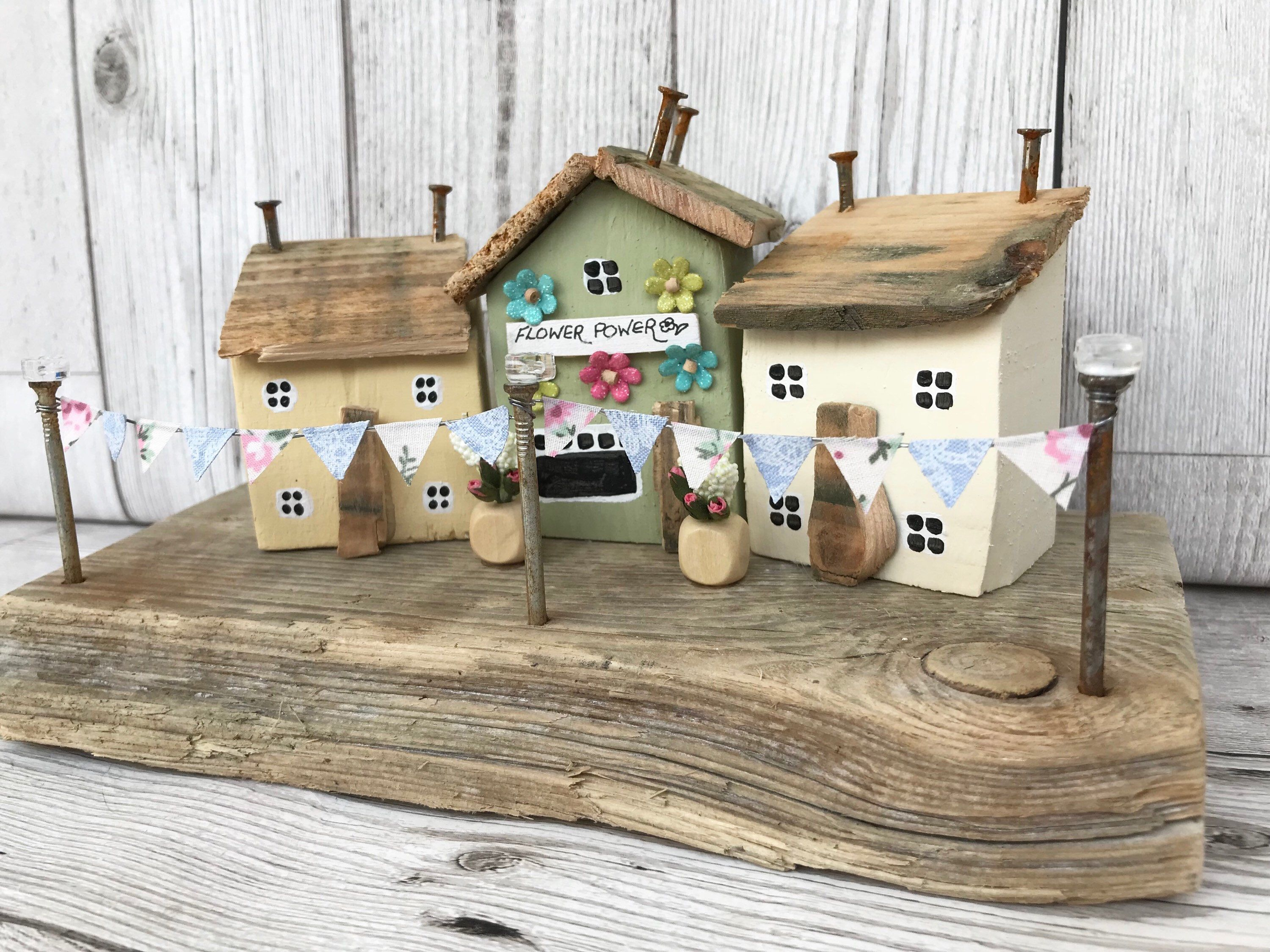 Wooden Houses and Flower Shop, Driftwood Art Cottage Chic Decor Housewarming gift Retirement Gift for Her Diorama Gift for Mum Wood Art