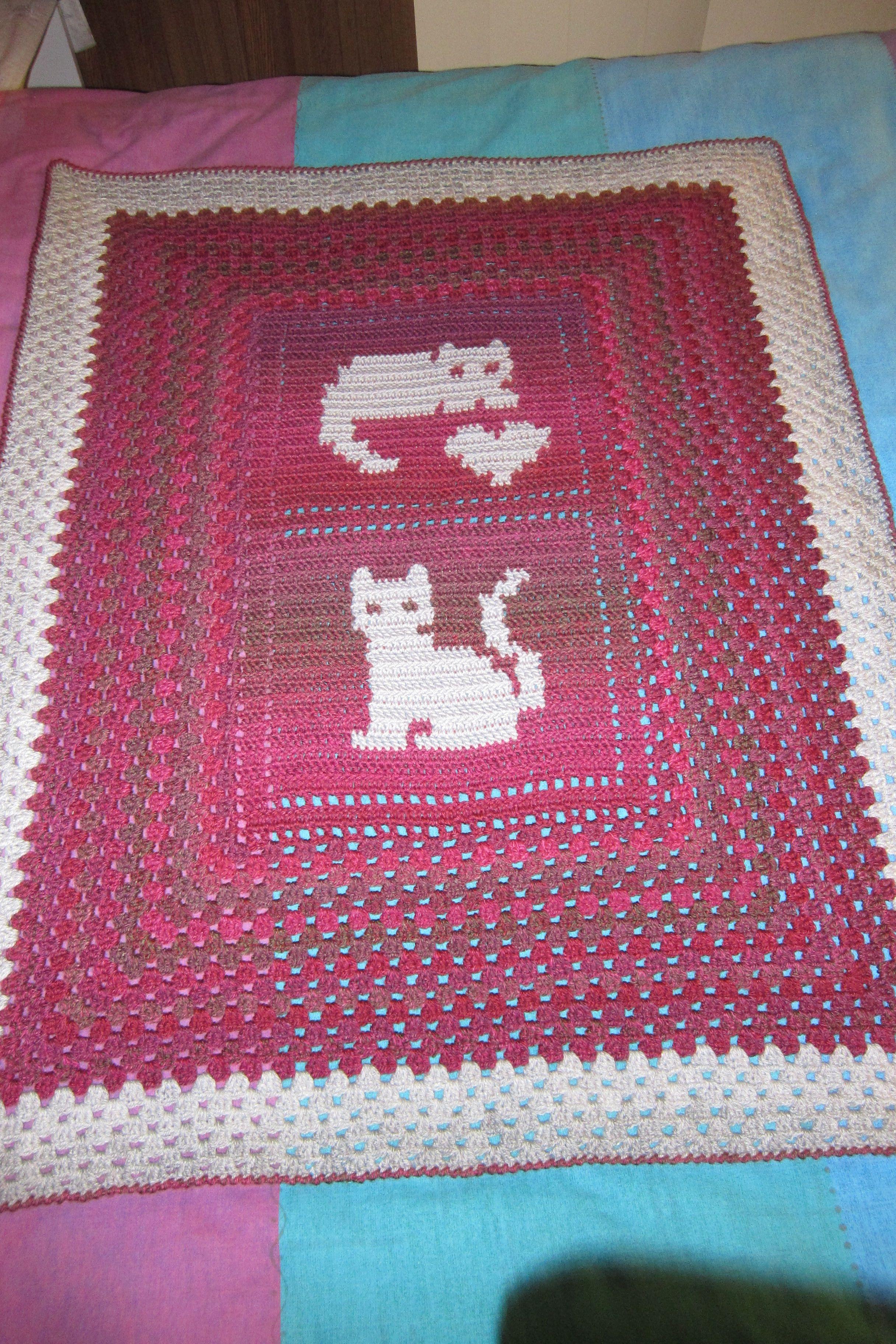 Crochet cat knee rug filet crochet adapted for a more