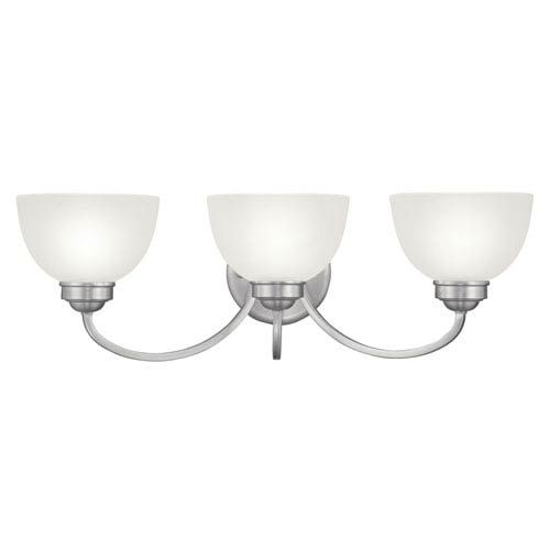 Photo of Livex Lighting 4233-91 Somerset Three-light bathroom mixer with satin glass made of brushed nickel – brushed, contemporary and modern | Bellacor
