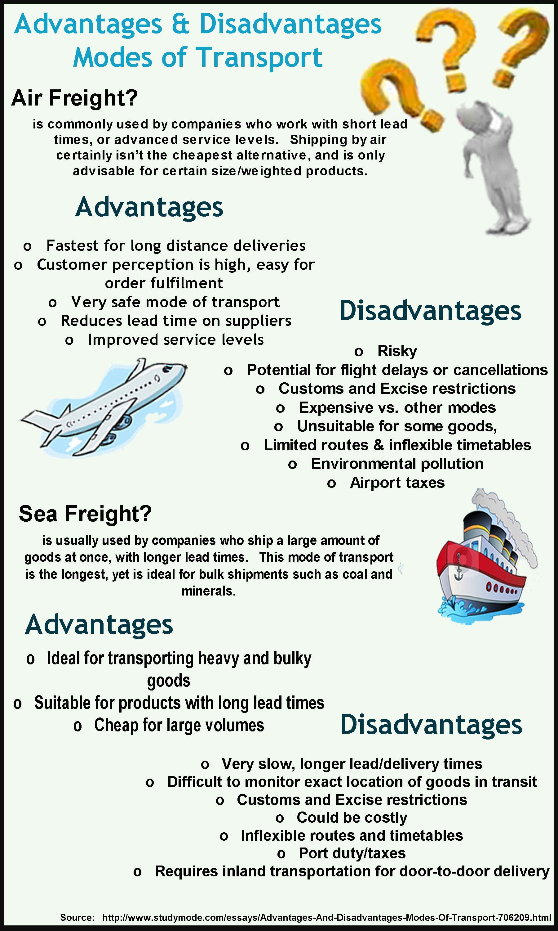 Advantages And Disadvantages Of Modes Of Transport