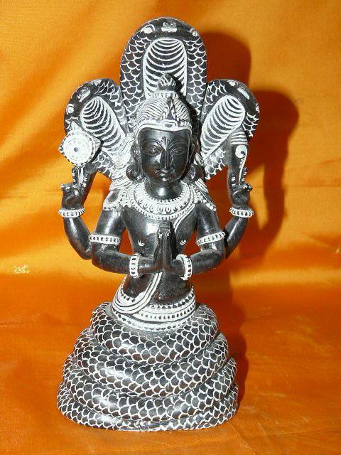 Patanjali Meditation Black Stone Statue, Garden Sculpture Sale Orlando $179.00