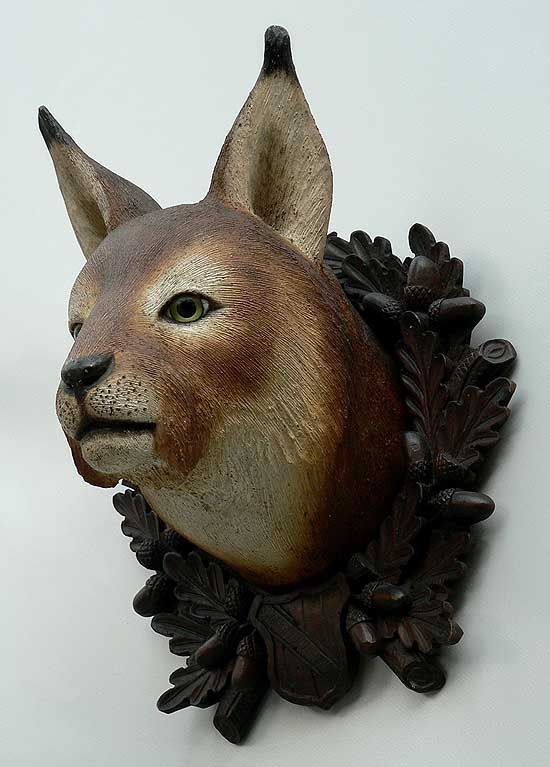 antique black forest carved wood lynx head