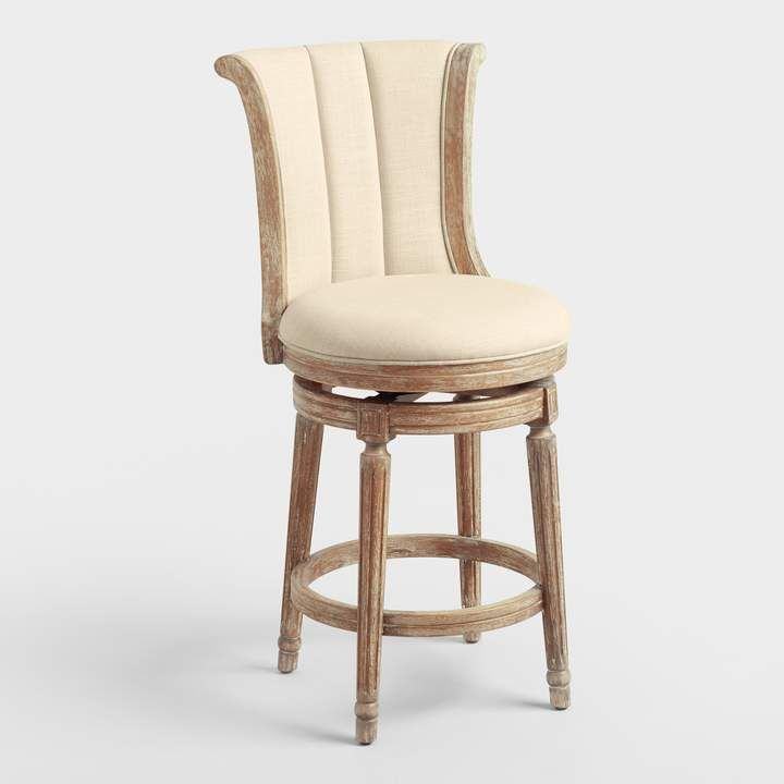 Cost Plus World Market Natural Linen Channel Back Swivel Counter Stool