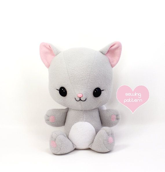 PDF sewing pattern - Cuddle Kitten stuffed animal - easy cat cute ...