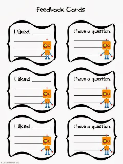 Informative  Explanatory Writing Feedback Cards  My Robot For