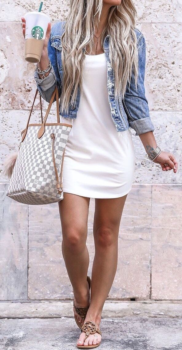 Explore white scoopneck dress and blue denim jacket and pink knit longsleeved shirt  Click to disco