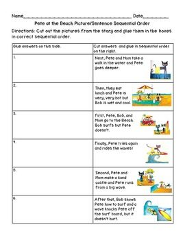 Pete The Cat At The Beach Sequencing Lesson Teacherspayteachers