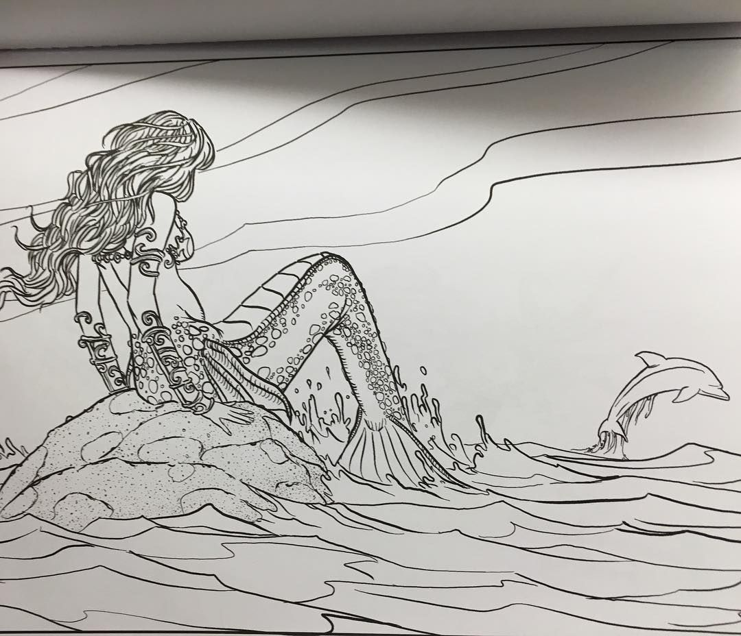 Mermaid In Creative Havens Fantasy Design Coloring Book Themermaidstudio Coloringbook Creativehaven Creativehavencoloringbooks Mermaids Siren