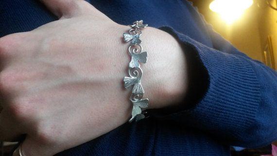 bracciale ginkgo biloba in argento di calcagninigioielli su Etsy