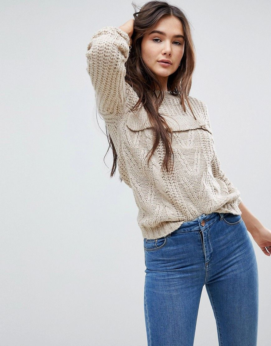 446eb55747d QED London Chunky Knit Sweater With Frill Detail - Beige